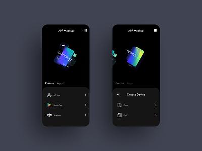 Design concept for Mockup App dark ux card minimal app