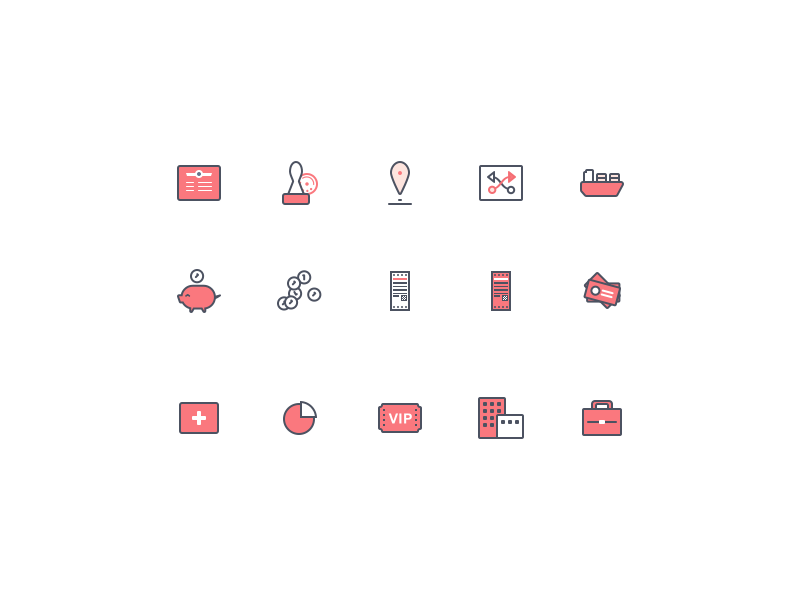 Iconset commercial red icon