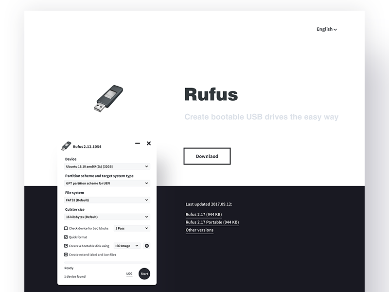 Rufus Website Redesign minimal usb redesign website rufus white dark black