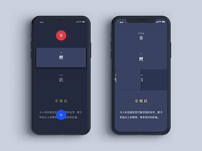 Nicename 甄名 APP 设计 (WIP) adobe xd xd chinese name red blue dark app