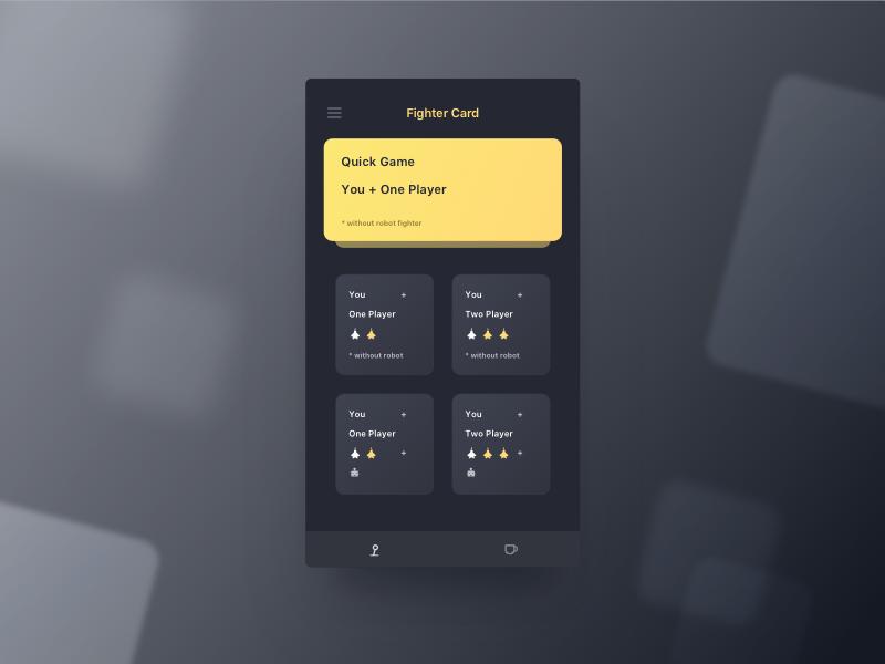 Fighter Card Design ios fighter black dark minimal app yellow game