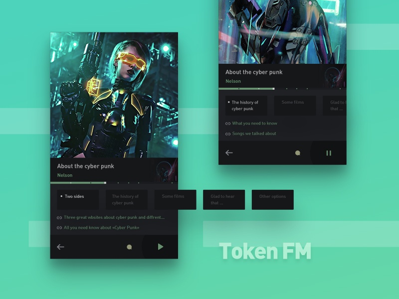 Podcast Player Design Concept podcast ux design card ui dark minimal app