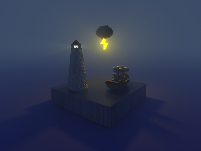 Night Sea by MagicaVoxel magicavoxel voxel art 3d voxel