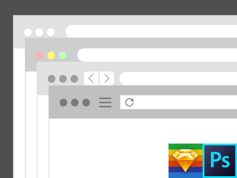 Browser Flat Kit Photoshop & Sketch Template free browser template sketch photoshop psd firefox chrome safari