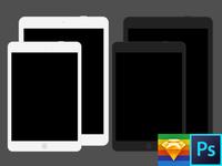 iPad, iPad Mini, Flat Kit Photoshop & Sketch Template