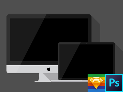 iMac + MacBook Pro Photoshop & Sketch Template macbook pro imac template free