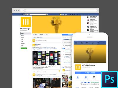 Facebook Profile Template desktop mobile freebie template free photoshop