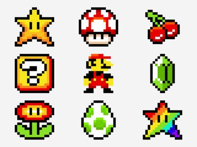Super Mario Pixel Explorations flower mushroom star pixel art super mario