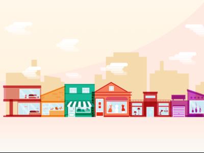Shops Illustration 70s 60s 50s shops