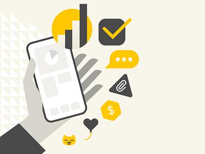 Meno Design Dashboard Illustration productivity to-do message chart dashboard