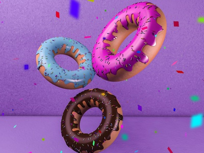 Donuts Party! concept background design art modeling donuts 3d colors