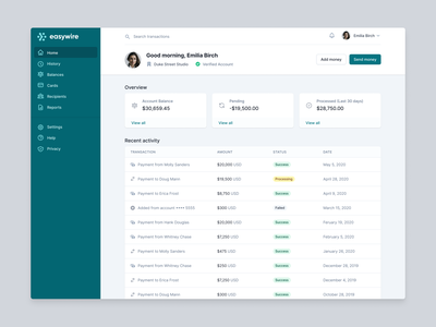 Payment application page example table tailwind ui tailwindcss payments homescreen dashboard