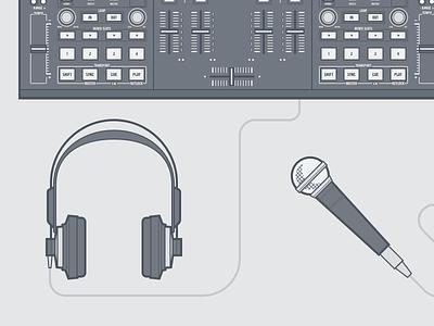 Headphones sketch illustration dj traktor headphones microphone