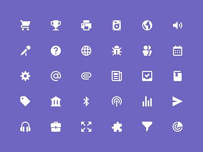 Zondicons headphones tag bug volume harddrive date cog trophy cart purple icons