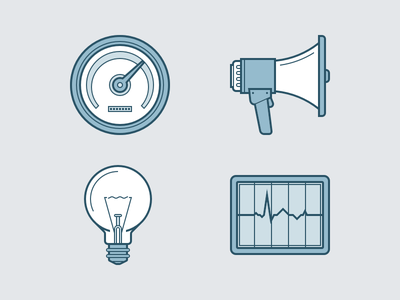 Heroicons icon set grey blue performance monitor dashboard idea light bulb announcement icons