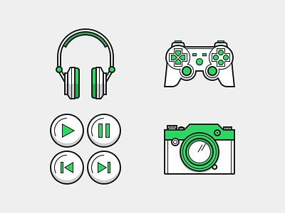 Media Heroicons camera gaming audio media