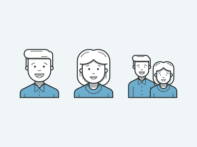 Heroicons Couple outline icon set icons user female male couple