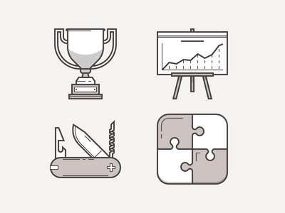 Various Heroicons monochromatic accent puzzle chart trophy multitask icons heroicons
