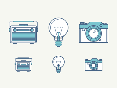 Various Heroicons icon set icons camera lightbulb radio