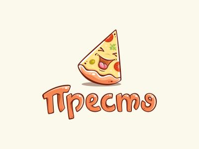Presto logo pizza lettering