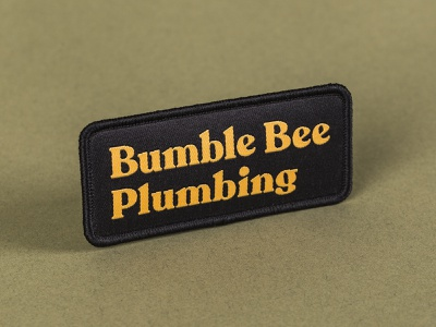 Bumble Bee Plumbing Type Patch apparel logotype typography patches patch design patch brand design brand branding blue collar buzz bee bumble bee recoleta graphic design