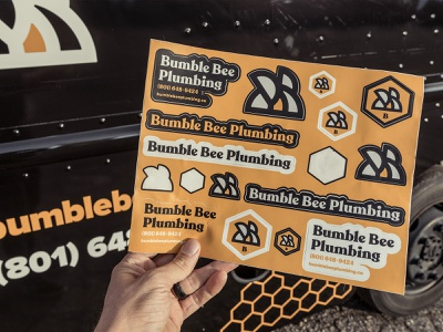 Bumble Bee Plumbing Sticker Sheet sticker mule sticker sheet sticker buzz bumble bee bee recoleta typography graphic design logo design logo brand design branding blue collar