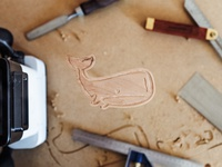 Wooden Monstro mascot logo whale shaper router cutout cnc wooden woodworking wood underbelly monstro