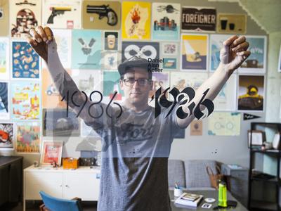 1986 Poster memorial edition numerals silkscreen screenprint typography poster