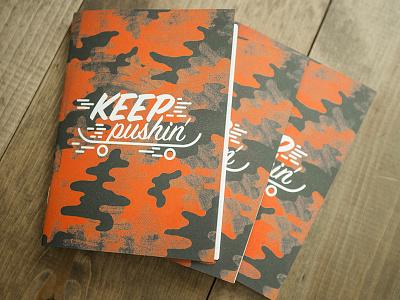 Keep Pushin' Adoption Journal adoption notes book journal camo pattern wheels board skate skateboard