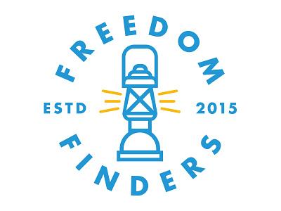 Freedom Finders logo light futura badge freedom lantern lamp ministry church