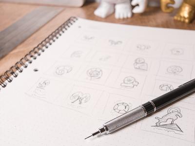 Logo Sketches process sketches firearms rifles precision western mountains sheep ram