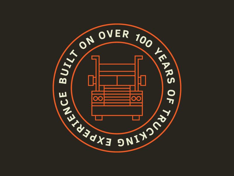Truck Badge line art badge icon 18 wheeler mack truck semi truck truck blue collar working class orange highway