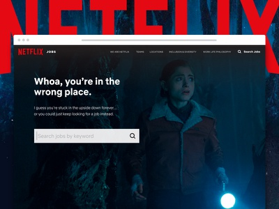 Stranger Things 404 demogorgon nancy upside down 404 stranger things ux ui search netflix jobs browse application
