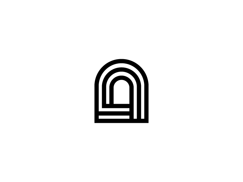 Portal illustration concept logo black and white track doorway archway arch portal