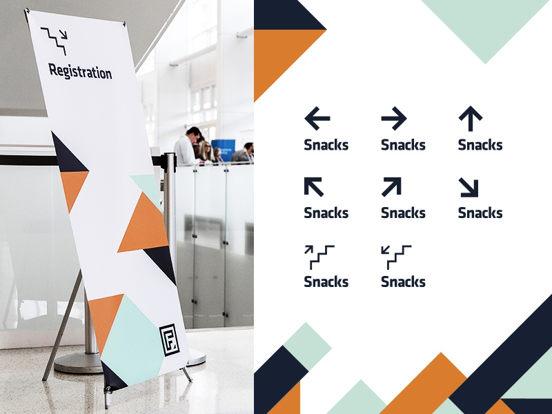 Front Conference Signage front utah conference wayfinding logo geometric shapes blocks triangles branding underbelly