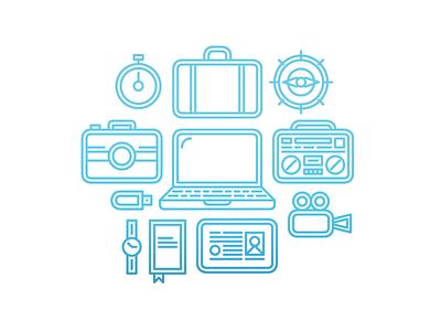 Travel Workplace Illustration id camera illustration outline travel workplace computer boombox simple barometer compass usb