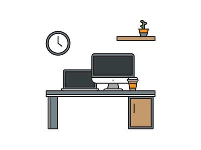 Free Flat Office Vector Illustration