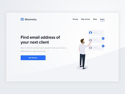 Bloometry Landing Page ui design responsive design mobile ui design mobile responsive marketing landing page illustration homepage freelance developer
