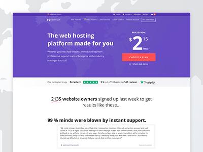 Landing Page - Hostinger cta hostinger hosting website webdesign web user interface uidesign ui landing page design
