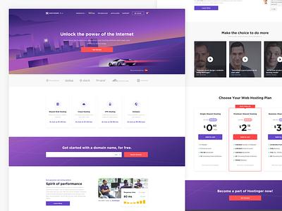 Hostinger — homepage 🚗 landing ux ui vps wordpress cloud hostinger hosting design company website web startup product minimal layout landing page homepage clean purple