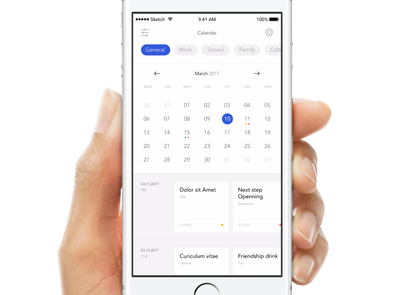 Calendar screen calendar ui app mobile