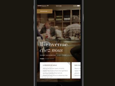 Wine bar home screen app bar wine restaurant mobile ui