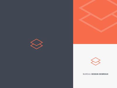 Logo — Bureau Dessin Debroux blue orange d b simple square minimalist logo