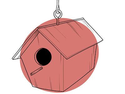 Bird House, Rose design illustration
