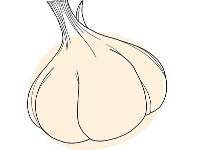 Garlic, Beige design illustration
