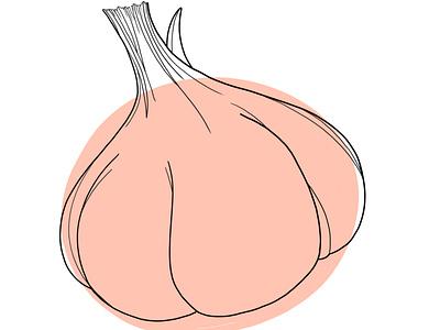 Garlic, Pink design illustration