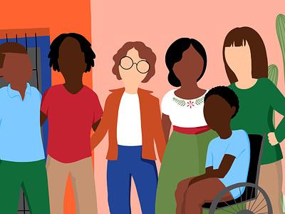 Border Community Alliance - Joining the Community web illustration people illustration