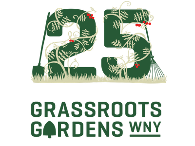 Grassroots Gardens WNY 25th Anniversary Logo volunteer drawing typography branding logo design