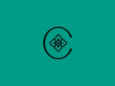 Rosemåling simple nature vector branding clean flower logo brand mark letter shop quilt logo c flower