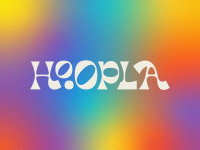 Hoopla type logotype tie dye playful colorful hippy granola seventies 70s funky fun branding design logo